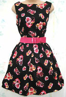 SIZE 10 12 1950'S ROCKABILLY SWING ROCK N ROLL PIN UP STYLE DRESS ♥ US 8 EU40