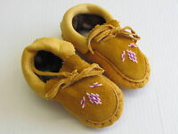 NATIVE AMERICAN  BEADED MOCCASINS,5 1/2 INCHES, DOUBLE SOLE,COZY,UNISEX FOR KIDS
