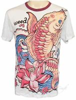 HIPPIE SURE WEED JAPANESE KOI FISH T-SHIRT Size L HALLUCINATION WHITE CRINKLE