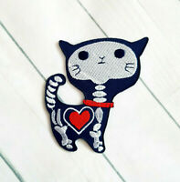 CUTE BLUE SKELETON CAT  Iron On/Sew On Patch Emo Goth Punk Rockabilly