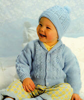 Baby boy Cardigan and hat Knitting pattern- lovely pattern fits 12-22 inch chest