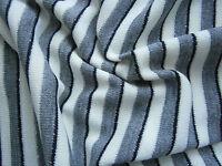 TRENDY Strickstoff,Strick,Streifen,Meterware,Kleiderstoff,Grau,Weiß,Silber