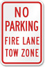 NO PARKING FIRE LANE TOW ZONE SIGN