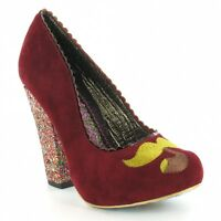 Irregular Choice Mostaccio Womens Suede Heels Red