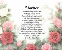 MOTHER FLORAL PERSONALIZED ART POEM MEMORY BIRTHDAY MOTHER'S DAY GIFT