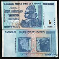 ZIMBABWE $100 TRILLION DOLLARS 2008 *REPLACEMENT ZA UNC CURRENCY MONEY BILL NOTE