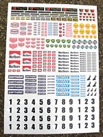 SLOT CAR SCALEXTRIC 1/32nd Vintage F1 stickers decals