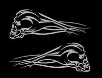 "Skull Flames Motorcycle Vinyl Car Decals Vinyl Graphics (12"" x 4"")"