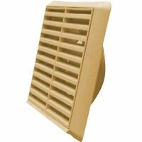 Kair Louvred Air Vent Wall Grille - 100mm Round Spigot - Beige - SYS-100 -