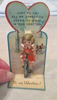 Vintage VALENTINE Greeting Card - Girl on Bike - POP UP
