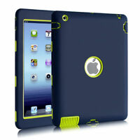 """Shockproof Heavy Duty Rubber Hard Case Cover for 9.7"""" Apple iPad 4 3 2, Blue"""