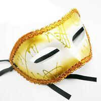 YELLOW GOLD MASQUERADE MASK - MASKED BALL FANCY DRESS PROM MARDI GRAS CARNIVAL