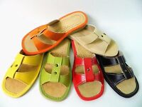 New Womens Natural Leather Slippers - Flip Flops - Sandals UK Size 3 4 5 6 7 8