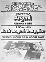 GARY MOORE BAND, BBA, ARGENT - LONDON MUSIC FESTIVAL, POSTER-SIZE AD 1973
