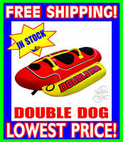 AIRHEAD DOUBLE DOG 2 Person Towable Tube NEW HD-2 Red Yellow FAST SHIPPING