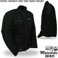 Mens Motorbike Motorcycle Jacket Textile Waterproof Breathable Armours All Black
