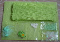 **BEAUTIFUL GREEN PAPER/EMBELLISHMENTS SET FOR CRAFTS