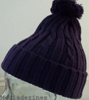 BOBBLE POMPOM ROLY KNITTED BEANIE WOOLEY HAT/CAP PURPLE