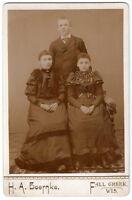 CABINET PHOTO 3 CHILDREN BOERNKE FALL CREEK WI 1800'S