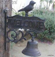 Cast Iron Dinner Bell WELCOME BIRD Wall Mounted Rustic Tuscan Scroll Garden