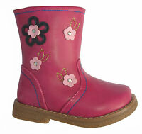 GORGEOUS INFANT GIRLS PINK BOOTS WITH PINK FLORAL TRIM ~ SIZE 4 5 6 7 8 9 10 11