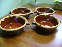 SET OF 4- HALL,USA MIRROR BROWN DRIP CEREAL BOWLS!!!!