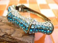 Clear Aqua Blue Glinted Crystal Bangle Cuff Bracelet 215