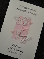 Handmade Personalised Civil Partnership Gay Lesbian Wedding / Anniversary Card
