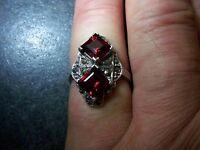prächtiger Markasit Ring rote Steine Art Deco Silber