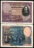 SPAIN 50 PESETAS P75B 1928 EURO HORSE MUSEUM PAINTING CURRENCY MONEY BILL NOTE