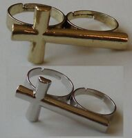 double ring Cross silver or gold Coloured Double 2 Finger Ring Two Finger ring