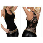 New Womens Crochet Lace Back Tank Top Blouses T-Shirt Rosy Vest Sexy Size S M L