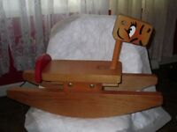 Vintage Wood Wooden Handcrafted Toby Toys of America Calif Rocking Horse Toy