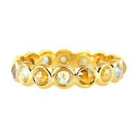 Memorial Day Gift Ice Diamond 18k Yellow Gold Handmade Band Ring Women Jewelry