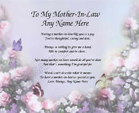 TO MY MOTHER IN LAW PERSONALIZED ART POEM MEMORY BIRTHDAY MOTHER'S DAY GIFT