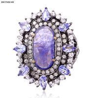 6.36ct Tanzanite Sapphire Pave Diamond 18k Gold Ring 925 Sterling Silver Jewelry