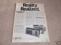 Carver Sonic Holography Ad fr 1988,4000t,C-1,c-9,Rcvr