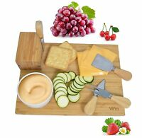 Vina Cheese Cutting Board and Knife Gift Set - Includes 4 Piece Cheese Knives