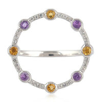 Amethyst Topaz Citrine Circle Gemstone Cocktail Ring 925 Sterling Silver Jewelry