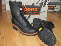 NEW MENS RED WING BLACK STEEL TOE LOGGER WORK LOGGING BOOTS LEATHER 8EE XW