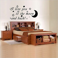 I love you to the moon and back Wall Art, Bedroom, Vinyl Decal Sticker, WA014
