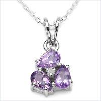 Collier/Kette mit Diamant/Amethyst-Anhänger 925 Silber