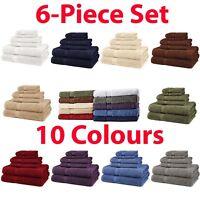 6 Piece Bath Towel Set 100% Egyptian Cotton Luxurious Towels 725 Gram 10 Colors