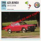 ALFA ROMEO 1966 1300 GT JUNIOR GIULIA SPRINT CAR ITALIA ITALY ITALIE CARTE FICHE
