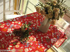 Rural Style Home Decoration Red Leaf Cotton Table Cloth / Cover 140cm X 140cm