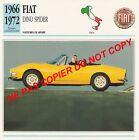 FIAT 1966 DINO SPIDER SPORT PININFARINA FERRARI V6 CAR ITALIA ITALY CARTE FICHE
