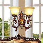 European Style Resin Glass Width 42cm Height 36.5cm 2 Lights White Wall Lamp