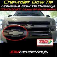 """2x 5x10"""" High Gloss White Bow Tie Emblem Overlays Decal Wrap Universal KIT Inlay"""