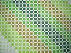 Vintage GREEN SQUARE GEOMETRIC PATTERNED Fabric Remnant (50cm x 50cm)