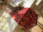 Rural Style Home Decoration Red Flowers Cotton Table Cloth / Cover 30cm X 150cm